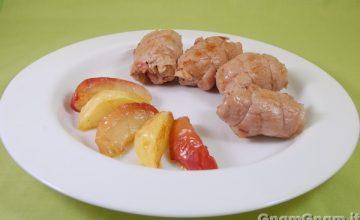 Involtini di maiale con mele e noci