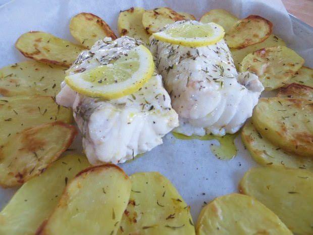 Coda di rospo con patate, limone e timo