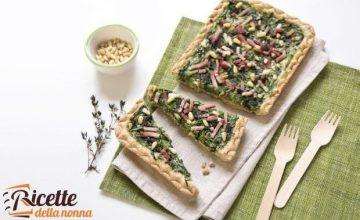 Torta salata di farro con bietole e speck