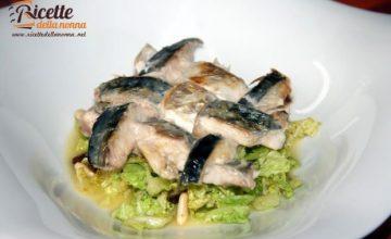 Millefoglie di maccarello e verza con salsa cacio e pepe