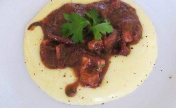 Polpo stufato al Chianti, crema di patate e burro Occelli