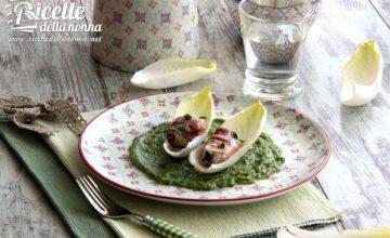 Bocconcini di rana pescatrice con speck, indivia belga e zucchine