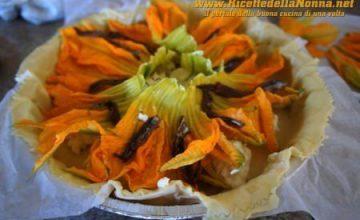 Tortino allo stracchino e fiori di zucca con semi di lino