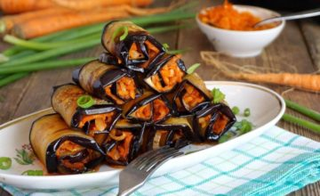 Involtini di melanzane grigliate farciti con mousse di carote: la ricetta!
