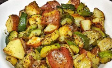 Zucchine e patate arrostite