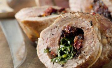 Filetto di maiale ripieno di spinaci, speck e noci