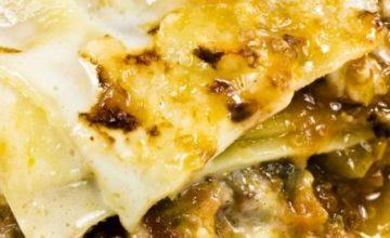 Lasagne con prosciutto e funghi