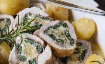 Roll di pollo con patate al forno