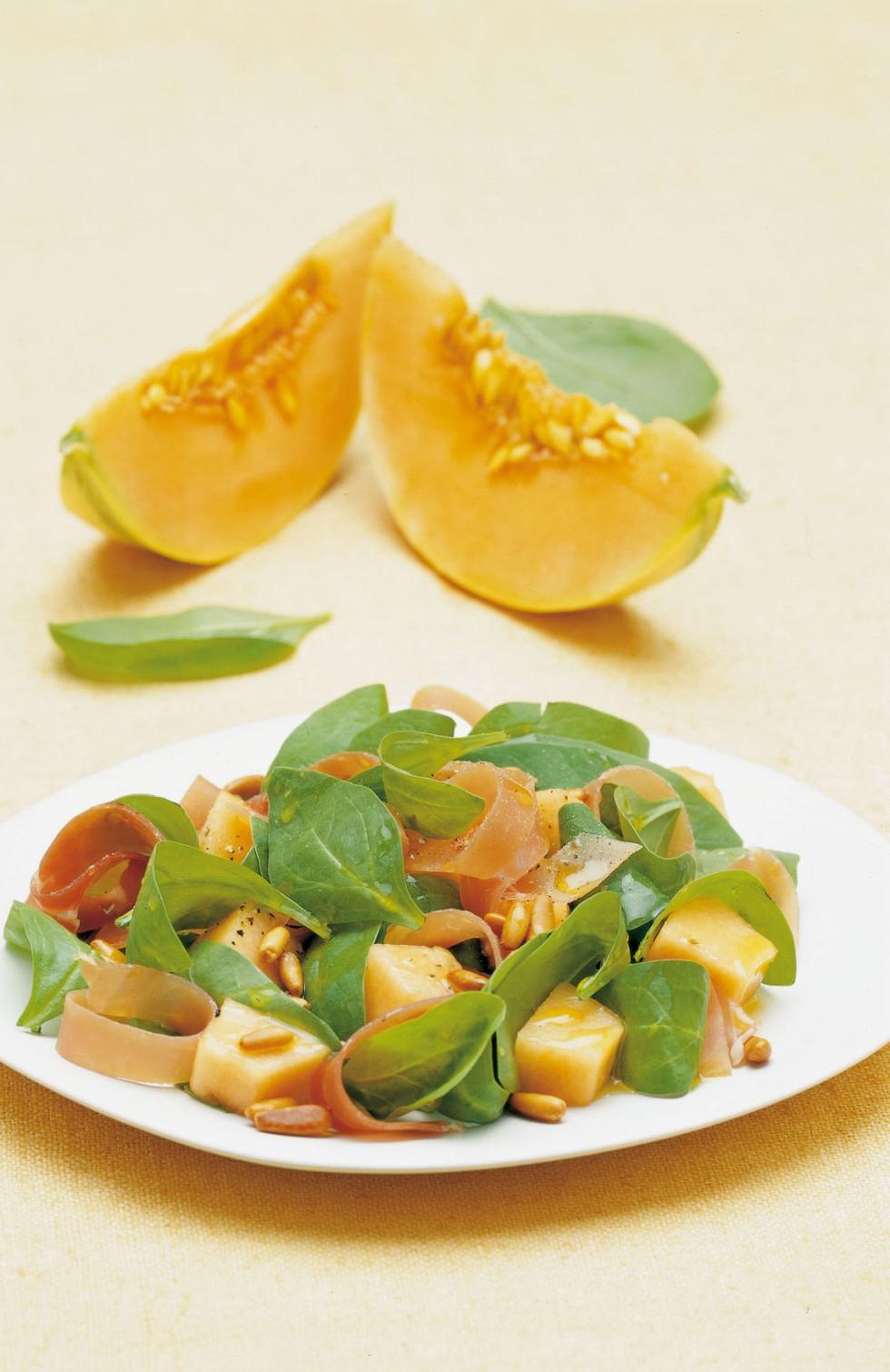 Insalata di melone pinoli e spinaci