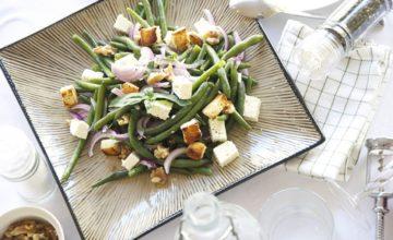 Insalata di fagiolini, feta e noci