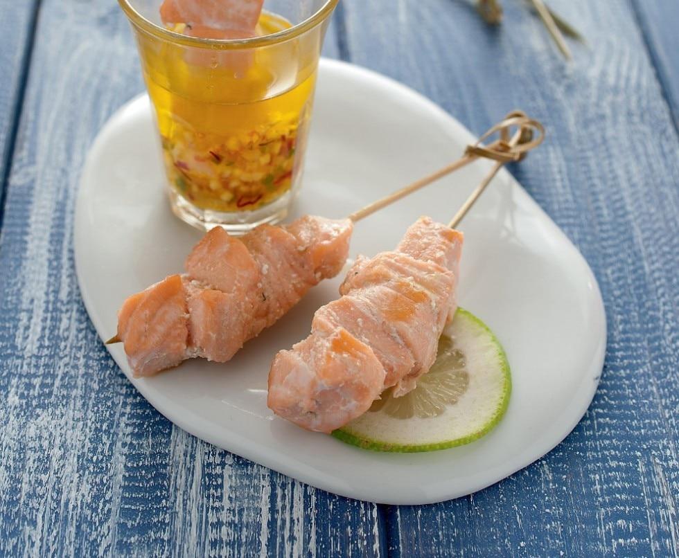 Spiedini di salmone in salsa agrodolce
