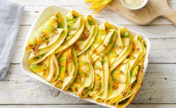 Crêpes agli asparagi e fiori di zucca