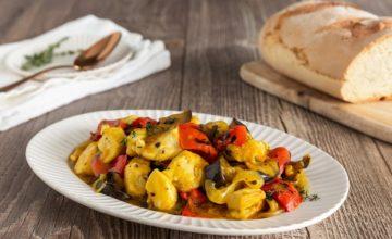 Pollo allo zafferano e verdure grigliate