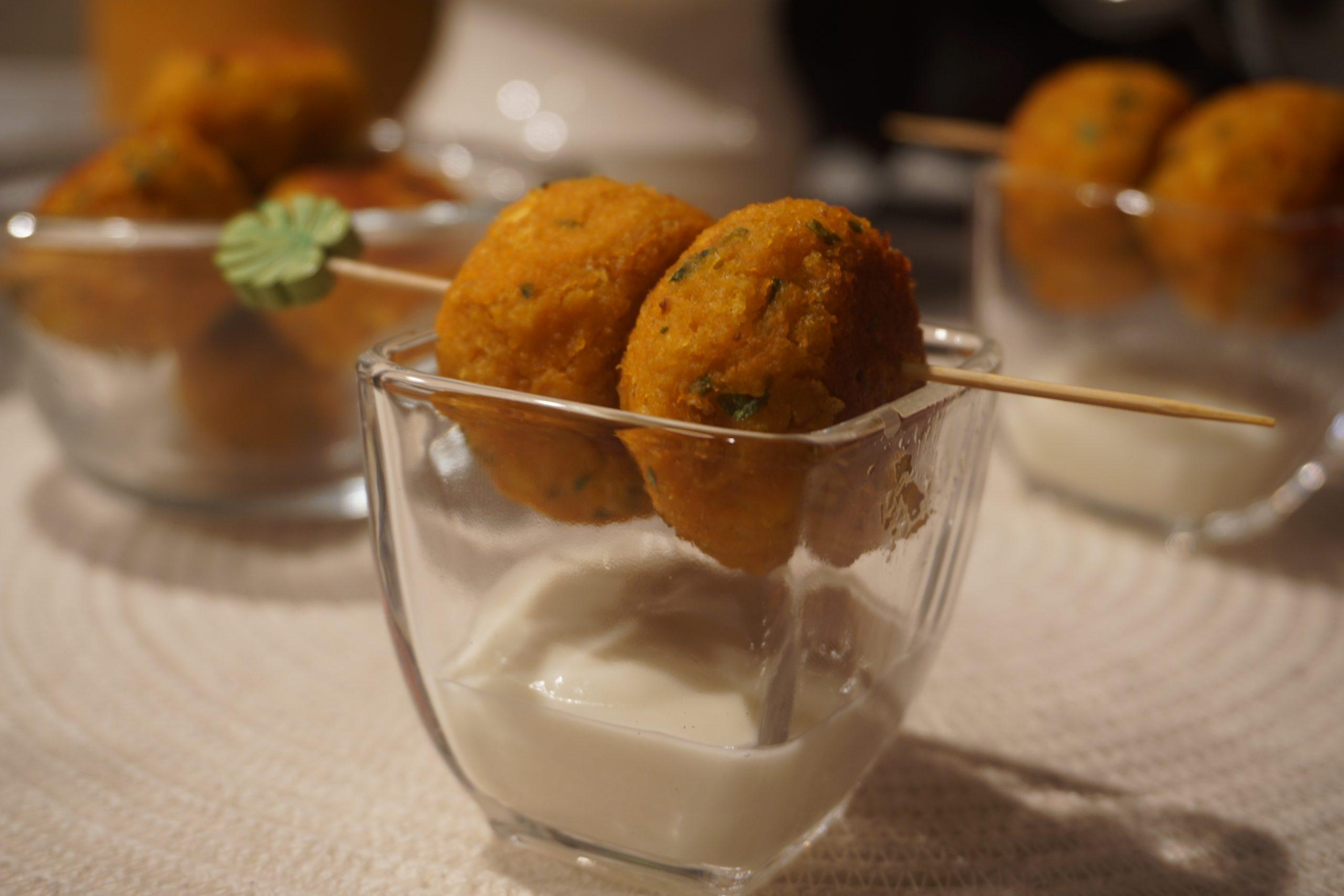 Polpette di zucca al forno con crema di pecorino