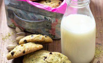 Cookies al pistacchio e cioccolato