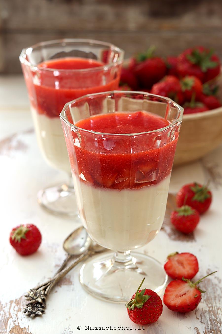Bicchierini con crema pasticcera e fragole